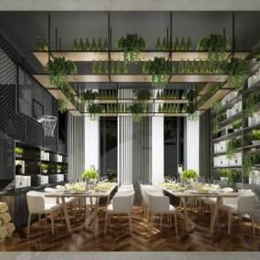 现代简约餐厅咖啡厅酒吧3D模型【ID:635940214】