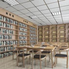 简约新中式阅览室图书馆3D模型【ID:932768884】