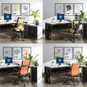 现代办公桌椅组合全3D模型【ID:934308151】