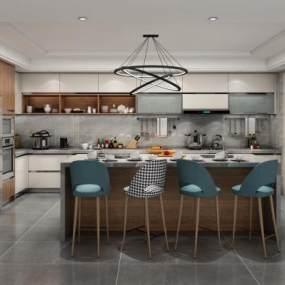 现代厨房橱柜3D模型【ID:532856311】