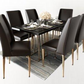 现代奢华深色餐桌椅3D模型【ID:835764849】