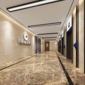 现代风格电梯厅3D模型【ID:743451635】