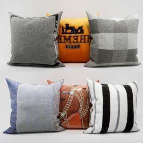 现代布艺沙发抱枕组合3D模型【ID:335617789】