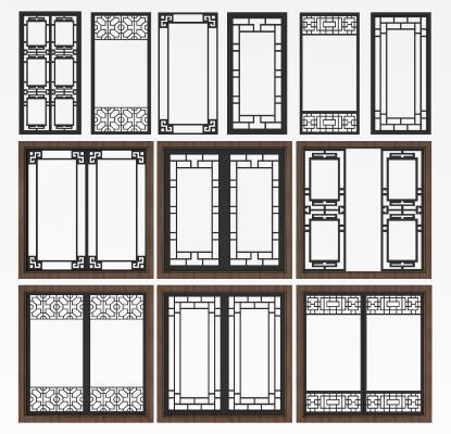 新中式實木窗戶移門組合3D模型【ID:332116244】