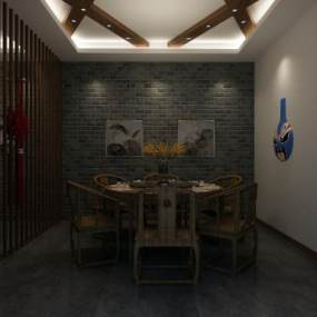 新中式餐厅包厢 3D模型【ID:642171877】