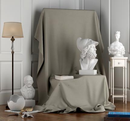 简欧画室石膏人物摆件3D模型【ID:341315141】