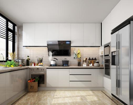 现代厨房橱柜3D模型【ID:134398783】