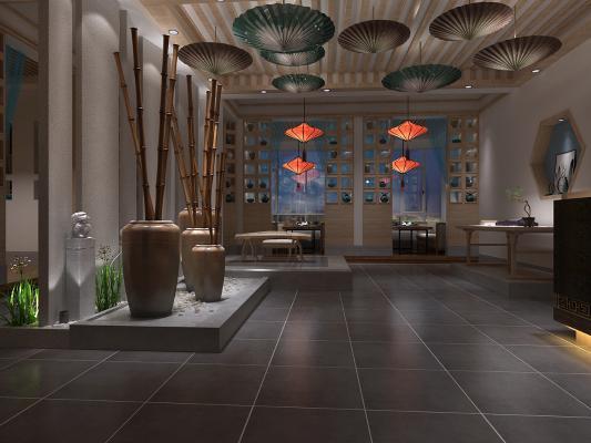 新中式茶馆茶室3D模型【ID:643053657】