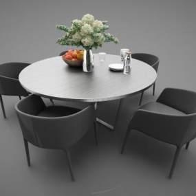 現代風格餐桌3D模型【ID:852624827】