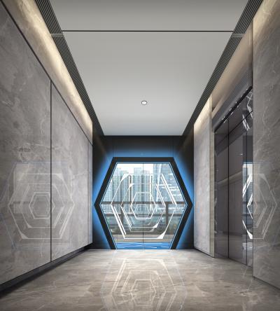 现代风格电梯厅3D模型【ID:743298619】
