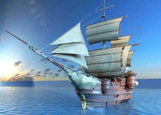 古代戰船3D模型【ID:442496830】