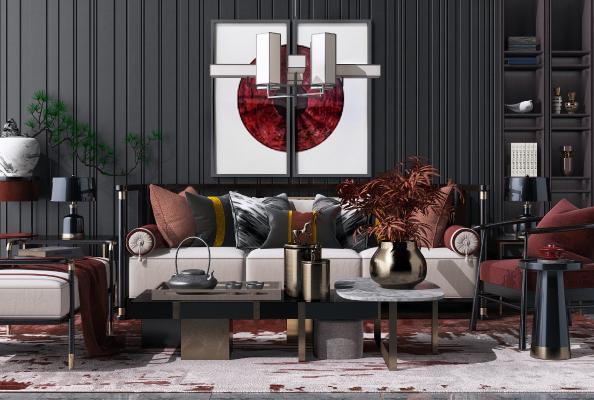 新中式沙发茶花瓶组合3D模型【ID:650610746】