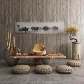 新中式茶案茶具桌椅组合3D模型【ID:634711835】
