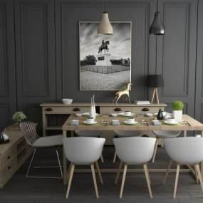 北欧实木餐桌椅电视柜边柜酒柜组合 3D模型【ID:840912813】