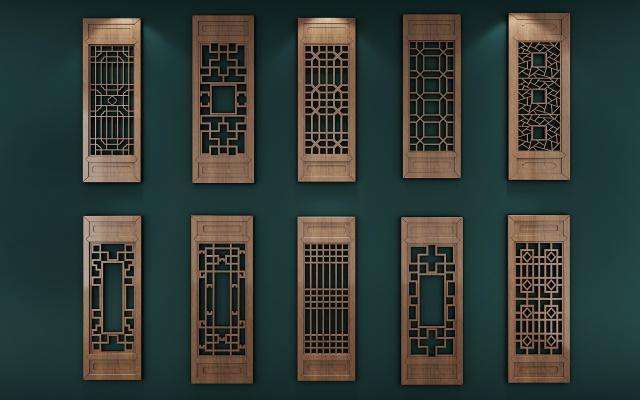 新中式花格門窗組合3D模型【ID:334745262】