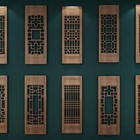 新中式花格门窗组合3D模型【ID:334745262】