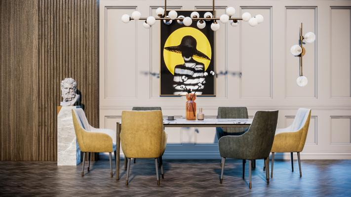 现代餐桌椅 餐具 饰品