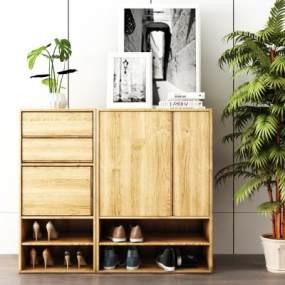 北欧实木鞋柜装饰画书籍组合3D模型【ID:133804256】