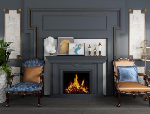 欧式壁炉背景墙单人椅盆景组合3D模型【ID:740698757】