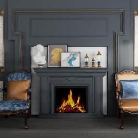 欧式壁炉背景墙单人椅盆景组合 3D模型【ID:740698757】