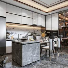 新中式风格厨房3D模型【ID:553925137】