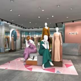 现代轻奢高端网红买手女装店3D3D模型【ID:947023806】