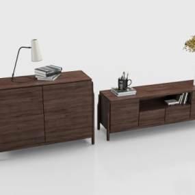 现代电视柜边柜组合 3D模型【ID:941565930】