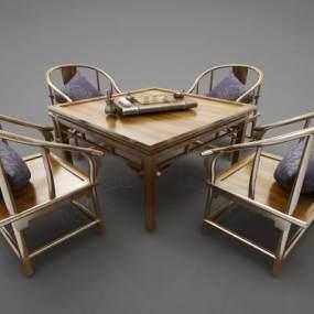 新中式风格餐桌3D模型【ID:847381824】
