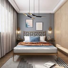 北欧卧室3D模型【ID:548776273】