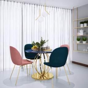 现代北欧餐桌椅3D模型【ID:845378916】