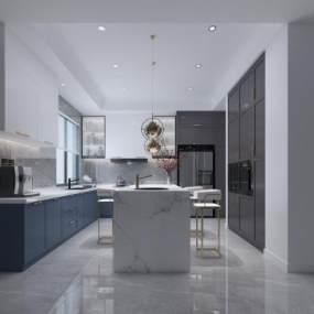 现代廚房3D模型【ID:548915357】