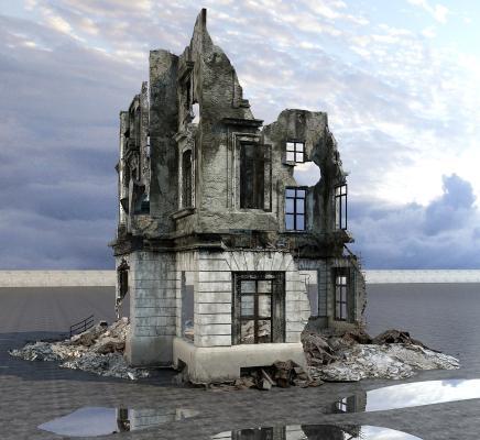 燒毀的建筑3D模型【ID:141641741】