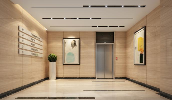 现代简约电梯厅3D模型【ID:948598559】