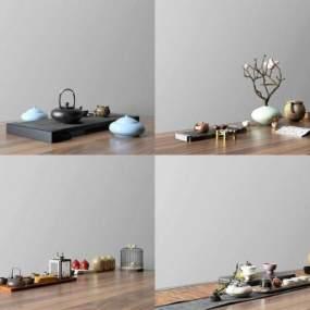 新中式茶具摆件组合3D模型【ID:234916562】