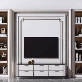 現代電視背景墻3D模型【ID:948029968】