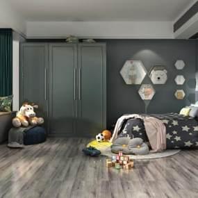 现代卧室儿童房3D模型【ID:533122264】