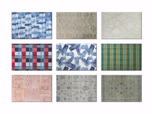 现代几何撞色装饰地毯3D模型【ID:342528272】