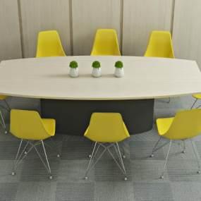 现代洽谈桌椅3D模型【ID:935809567】