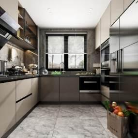 現代廚房3D模型【ID:551381305】
