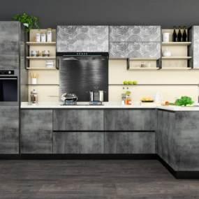 现代厨房3D模型【ID:533808305】