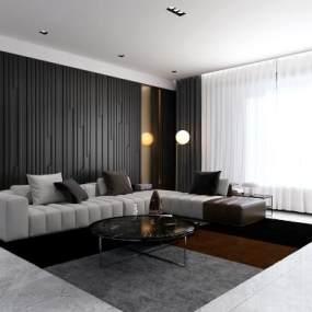 现代客厅沙发茶几组合3D模型【ID:530433069】