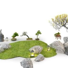 新中式景观植物组合3D模型【ID:253320812】