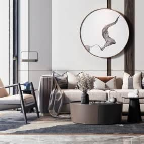 新中式沙发茶几组合3D模型【ID:645390741】