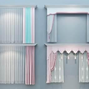 欧式简约粉色窗帘组合3D模型【ID:235618659】