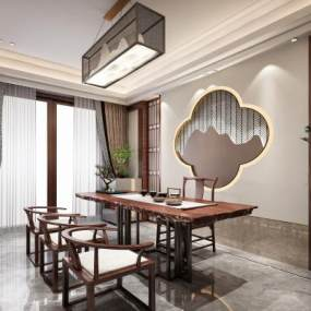 新中式別墅茶室3D模型【ID:651074167】