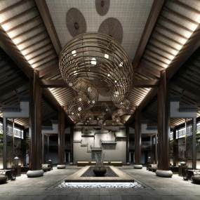 新中式酒店大堂3D模型【ID:742510097】
