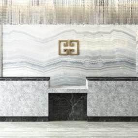 现代大堂前台接待台水景吊灯组合3D模型【ID:735765026】