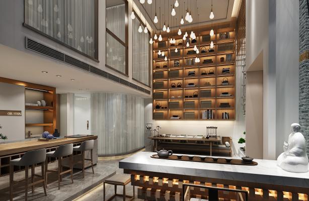 新中式茶室茶館3D模型【ID:644183670】