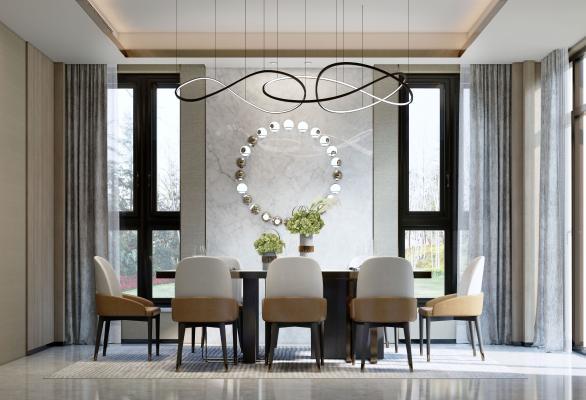 现代轻奢餐厅餐桌椅组合SU模型【ID:553660369】