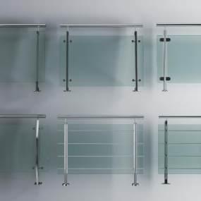 现代不锈钢玻璃扶手3D模型【ID:332114512】